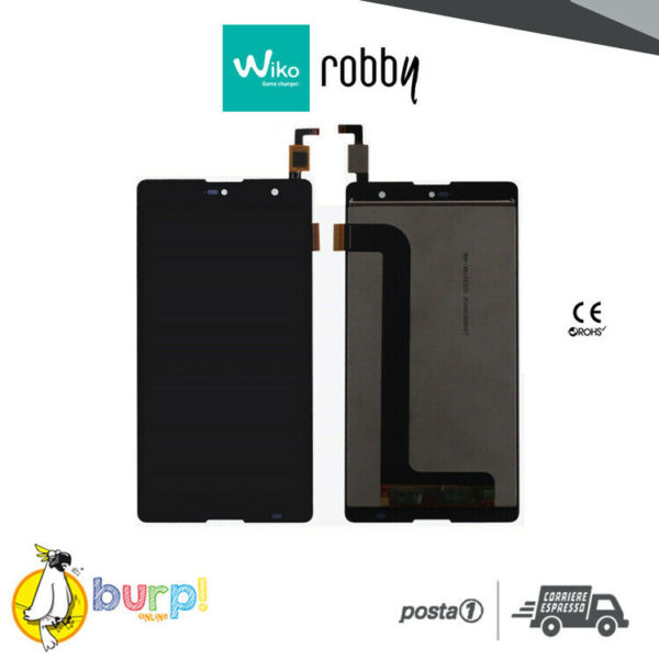 LCD TOUCH SCREEN DISPLAY ASSEMBLATO PER WIKO ROBBY NERO BLACK VETRO 55 AAA 233241600050