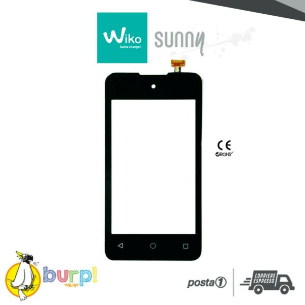 TOUCH SCREEN PER WIKO SUNNY NERO BLACK DISPLAY GLASS VETRO VETRINO DIGITIZER 232990744140