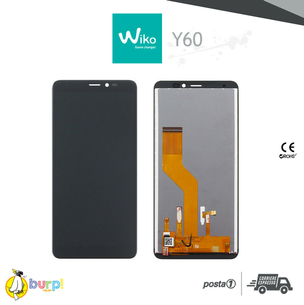DISPLAY LCD TOUCH SCREEN VETRO ASSEMBLATO PER WIKO Y60 NERO BLACK SCHERMO 233332347632