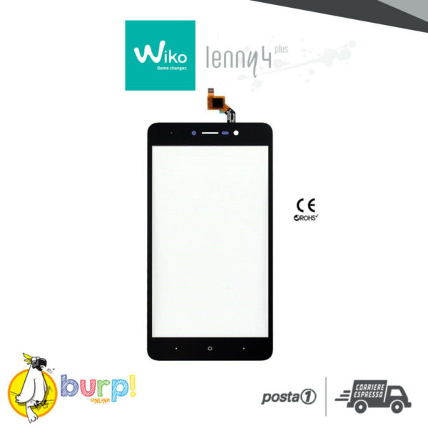TOUCH SCREEN WIKO LENNY 4 PLUS 55 NERO BLACK DISPLAY VETRO VETRINO DIGITIZER 232990817052