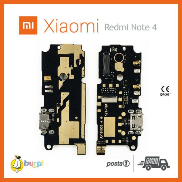 CONNETTORE RICARICA USB MICROFONO DOCK XIAOMI REDMI NOTE 4 FLAT FLEX RICAMBIO 233332337043