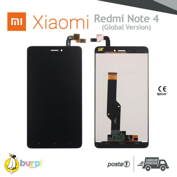 DISPLAY LCD TOUCH SCREEN XIAOMI REDMI NOTE 4 NERO VETRO SCHERMO BLACK GLOBAL 233288282483