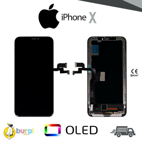 TOUCH SCREEN DISPLAY LCD VETRO APPLE IPHONE X OLED QUALITY SCHERMO RETINA NERO 233320018064