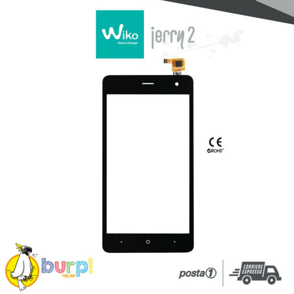 TOUCH SCREEN VETRO DISPLAY VETRINO GLASS PER WIKO JERRY 2 BLACK NERO DIGITIZER 232990800574