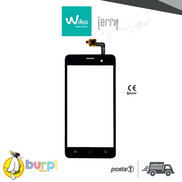 TOUCH SCREEN VETRO DISPLAY VETRINO GLASS PER WIKO JERRY BLACK NERO DIGITIZER 232952563497