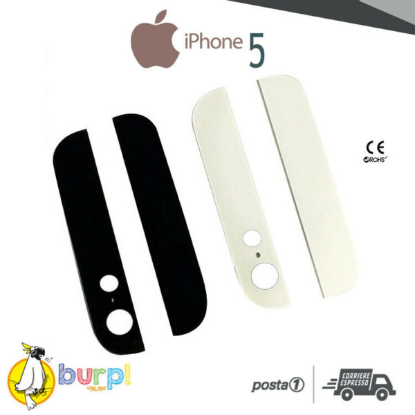 VETRINO SUPERIORE INFERIORE IPHONE 5 BIANCO NERO ADESIVO 5G VETRO BACK COVER 233240719157