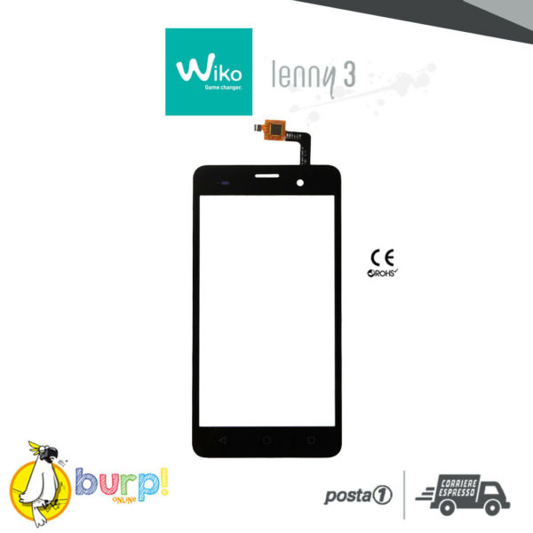 TOUCH SCREEN PER WIKO LENNY 3 NERO BLACK DISPLAY GLASS VETRO VETRINO DIGITIZER 232952538868