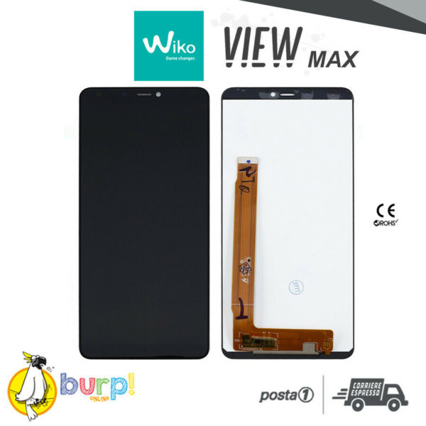 TOUCH SCREEN VETRO LCD DISPLAY ASSEMBLATI PER WIKO VIEW MAX NERO BLACK AAA 233275855778